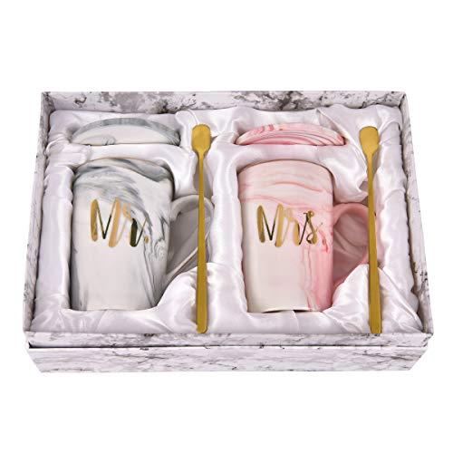 Mr and Mrs Couple Marble Coffee Mug Set Engagement Wedding Valentine's Day...