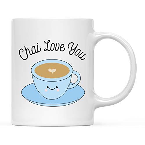Andaz Press Funny Food Pun 11oz. Ceramic Coffee Tea Mug Gift, Chai Love You, Chai Tea Graphic, 1-Pack, Valentine's Day Birthday Christmas Gift Ideas for Him Her