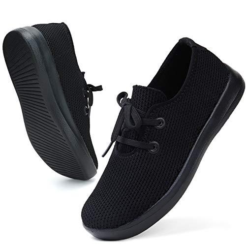 ZHR Sneaker Damen Atmungsaktiv Low top Classic Leichte Schuhe Alles Schwarz EU40