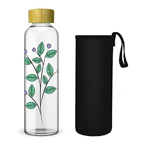 Wenburg Botella de cristal con estampado y tapa de bambú de 550/750/1000 ml, funda de neopreno, botella de deporte, botella de agua de cristal para viajes, para té, agua, batidos (1 litro)