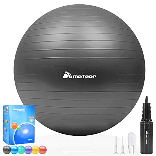 Meteor Anti-Burst Yoga Ball Swiss Ball with Air Pump for Exercise Pilates Balance Workout Fitness Pregnant Therapy Relaxation Stretching - Supports 250KG, 85cm (Black) by Gym Mart