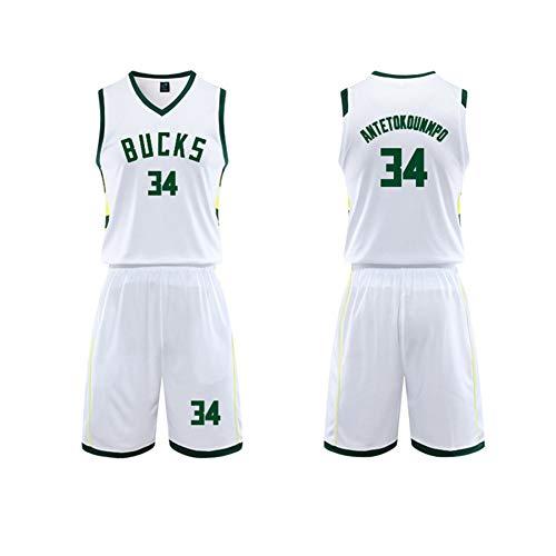Antetokounmpo #34 Bucks Basketballtrikot für Herren, Basketball-T-Shirt, Sportbekleidung, Mesh-Weste, Sweatshirt, ärmellos, atmungsaktiv, Jersey, Größe L - 5XL Gr. 58, weiß