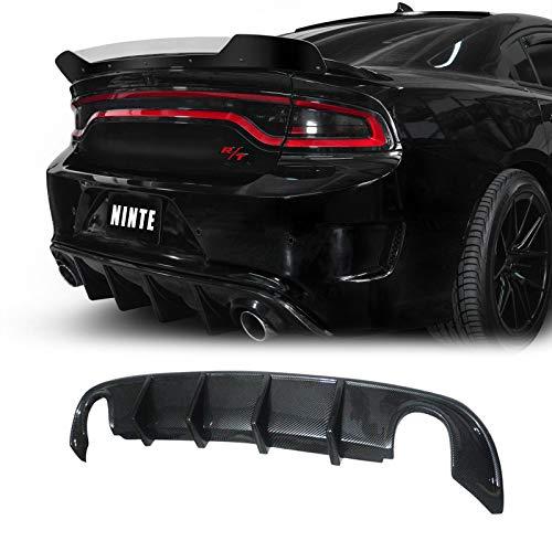 NINTE Rear Diffuser for 2015-2018 Dodge Charger RT, 2015-2020 Charger SXT & SE, Carbon Fiber Style Shark Fin Lower Bumper Lip