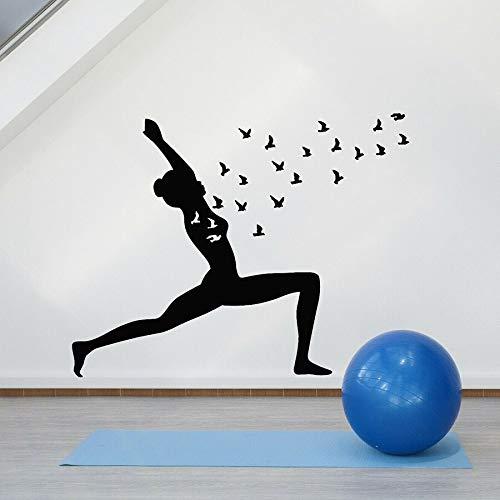 Tianpengyuanshuai Vinyl wandtattoo Yoga Pose Vogel mädchen Zen Balance wandaufkleber fensterglas Schlafzimmer Dekoration 63x79 cm