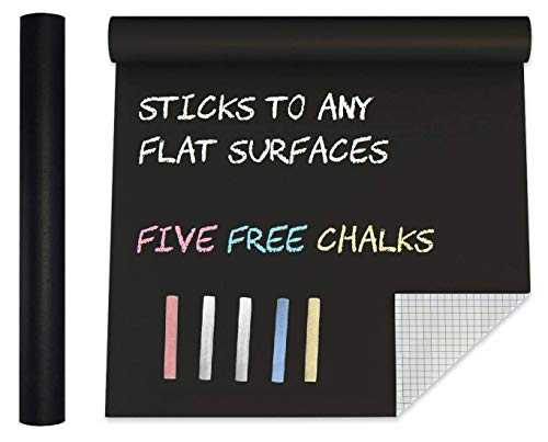 Extra Large Blackboard Chalkboard Banner Vinyl Adhesive Paper (7.5 FEET) w/ Upgraded Color Chalks - Shelf Drawer Liner Wall Decal Poster Roll Paint Alternative - Peel & Stick Shape Silhouette