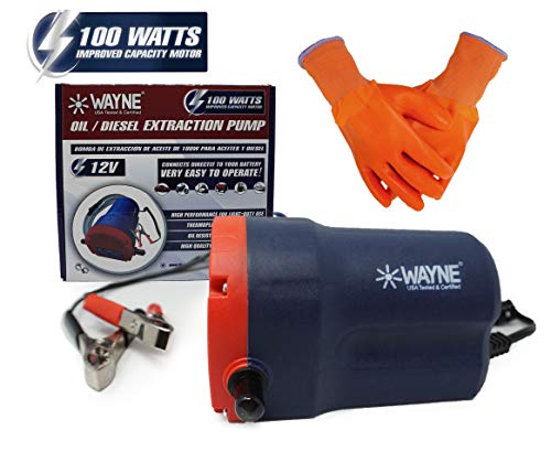 Wayne 100W - Oil Extractor Pump - Oil Pump for Oil Change - Transmission Fluid Transfer Pump (Oil/Diesel) - for Automotive, Heavy Duty Machinery, Farm & Marina Use - Best Oil Extractor