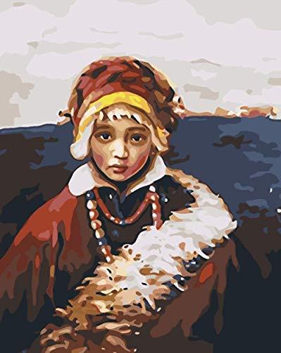 AOLIGEI DIY Erwachsenen Digitale Leinwand Ölgemälde Geschenk Kinder Digitale Stiefel Malerei Wandgemälde Ölgemälde Farbe Set Home Dekoration Kunstwerk-Mongolisches Mädchen 40 * 50 cm (Kein Rahmen)