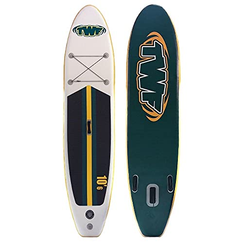 TWF SUP inflable Stand Up Paddle Board Paquete 10'6' longitud 30' ancho 6' grueso Completo con bomba paleta y bolsa