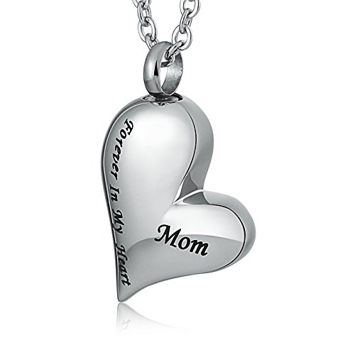 Aimsie Collar Mujer Collar con Colgante para Cenizas Corazón Liso Grabado para Siempre En Mi Corazón Mamá Collar de Acero Inoxidable Free Grabado