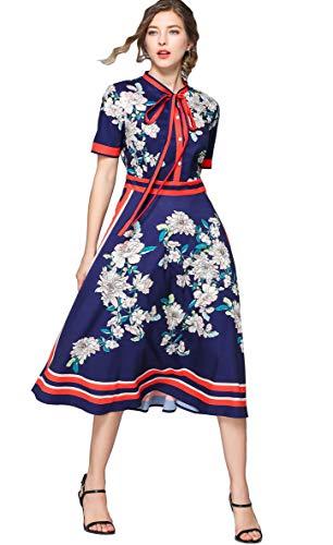 Damen Midikleid Elegant A-Linie Knopfleiste Hemdkleid mit Blumenmustern Party Kleider