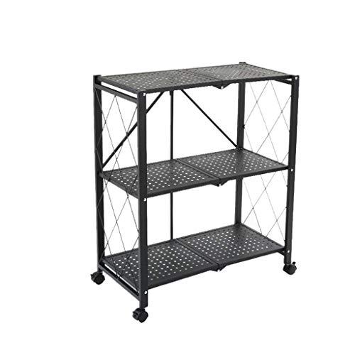 QAQA Mobile Storage Rack, Kitchen Units Freestanding Storage, Garage Storage Units Living Room Storage Unit Metal Storage Shelves, Black (Size : 71.5 * 36.5 * 87cm)