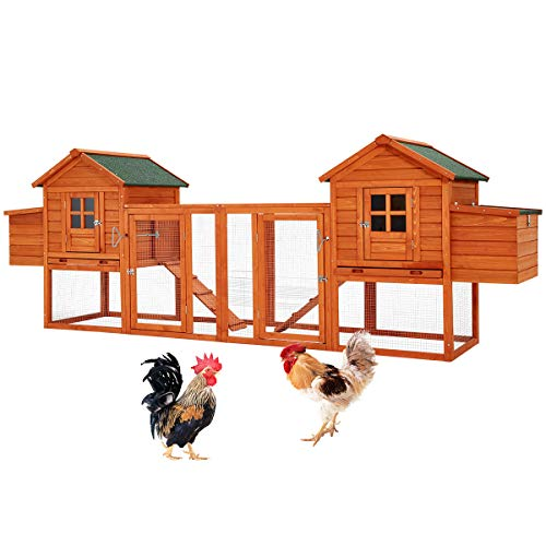 """Esright Large Chicken Coops 144"""" Outdoor Wooden for 4-6 Chickens with Run and Nesting Box, Rabbit Hutch Bunny Cage for Small Animals Poultry"""