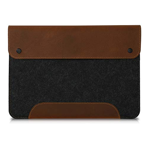 kalibri Funda Compatible con Tablet Apple iPad Mini 5 / iPad Mini 4 - Carcasa de Fieltro y Cuero - en Gris Oscuro/marrón