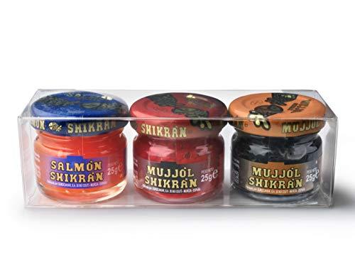 Eurocaviar - Shikran - Packungsmischung: 3 x 25 g. Meeräsche Rogen Kaviar Perlen Schwarz + Meeräsche Rogen Kaviar Perlen Rot + Geräucherte Lachs Kaviar Perlen