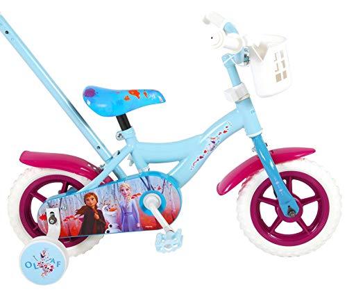 Kinderfahrrad Mädchenfahrrad 10 Zoll Disney Frozen 2 Vorwärts und rückwärts Fahren Schiebestange und Stützräder Blau
