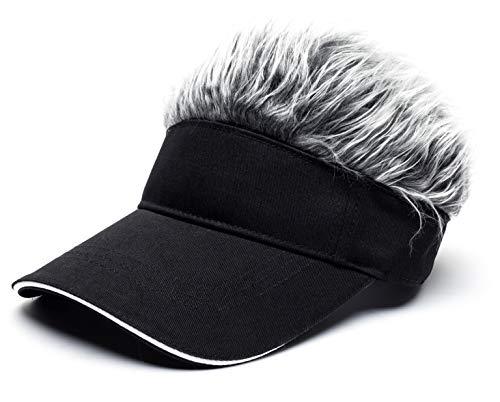 Men's Novelty Spiked Hair Visor Sun Funny Golf Hats Fake Wig Peaked Adjustable Baseball Caps Black Grey