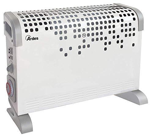 Ardes AR4C03T - Termoconvettore Turbine Time Turbo Ventilato con Termostato, Timer 24 H e 3 Potenze Design, 2000 W, Grigio Bianco, 51 x 17 x 40 cm