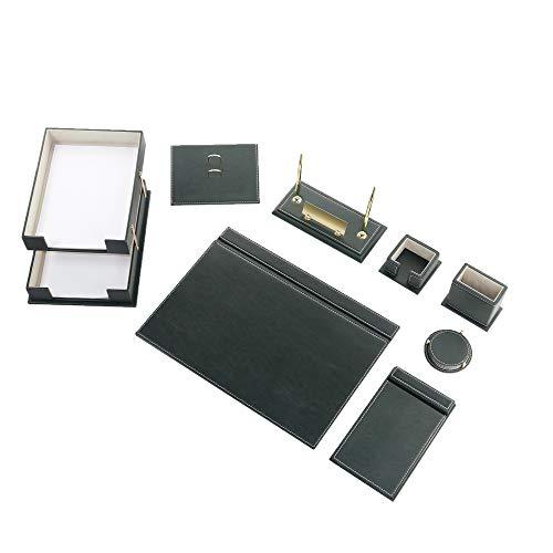 CALME-N - Juego de escritorio de 10 piezas con doble bandeja para documentos, bloc de escritura en 49 cm x 34 cm, de piel sintética con placa para nombre en 6 colores a elegir (verde)