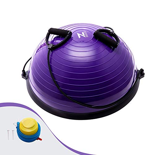 Z ZELUS 58CM Pelota de Equilibrio Bola de Yoga con Bandas de Resistencia Pelota de Fitness con Bomba de Pie para Ejercicios de Entrenamiento de Fuerza, Yoga, Fitness (Púrpura)