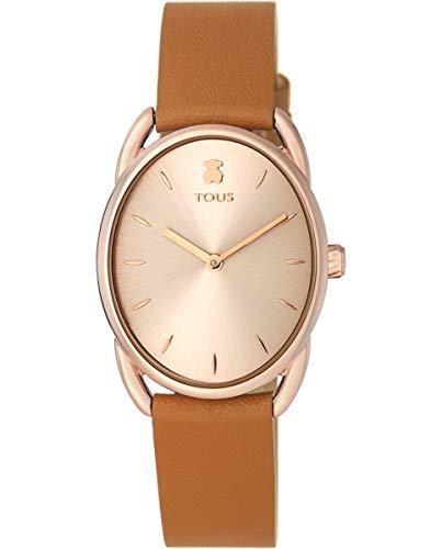 TOUS Reloj Mujer DAI IPRG ESF ROSÉ,Correa PVC/Piel Marron - Ref 100350445