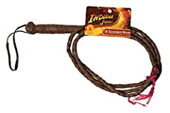 OFFICIALLY LICENSED INDIANA JONES Costume whip Bullet BROWN BRAIDED LEATHER design; sturdy handle with wrist strap MEASURES 6-FOOT END-TO-END length; ability to snap whip to create cracking noise COORDINATE with other OFFICIALLY LICENSED or CLASSIC c...