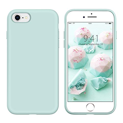 YINLAI iPhone SE 2020 Case, iPhone 8 and iPhone 7 Case Slim Liquid Silicone Hybrid Soft Rubber Shockproof Bumper Protective Phone Cover for iPhone SE 2nd Generation/8/7 Girls Women Pastel Summer Mint
