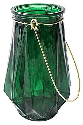 RENYC Vasen Keramische Blumenvasen, Retro-grüne Vase, Metallgriff Blumenvase, Hydroponic-Blumen-Anordnung Dekoration für Wohnzimmer Essender Arbeitsplatten, geometrische Facetten (Color : Green)
