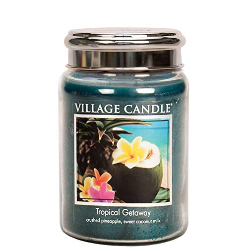 Village Candle Tropical Getaway 26 oz Large Glass Jar Scented Candle