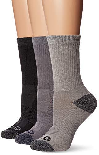 Merrell womens 3 Pack Cushioned Performance Hiker (Low Cut/Quarter/Crew) Casual Sock, Charcoal Black (Crew), Shoe Size 4-10 US