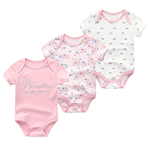 Chamie Newborn Baby Onesies 3-Pack Short Sleeve Bodysuit Baby Clothes for Boys and Girls