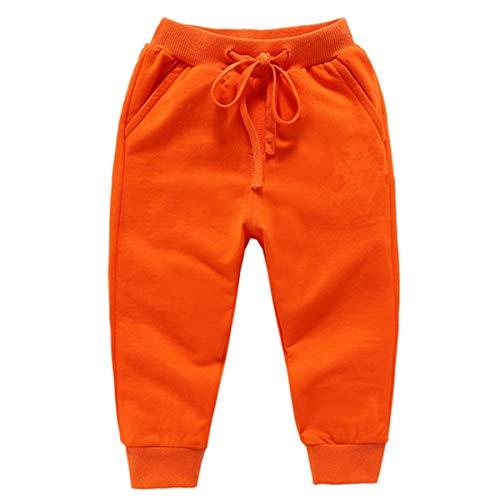 YOLIA Unisex Kids Cotton Pants Boys Elastic Waist Trousers Baby Sweatpants Bottoms 1-6Years Orange