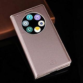 جرابات فليب - جراب جلدي فاخر لهواتف G3 Optimus D855 D850 D 855 D855 D856 LGG3 G 3 D857 D859 F400 F400k Auto Sleep (Gold Fo...