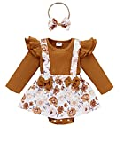 Newborn Infant Baby Girl Ruffle Long Sleeve Ribbed T-Shirt Top Floral Suspender Shorts Headband Winter Clothes (Khaki, 12-18 Months)