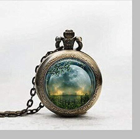 Reloj de bolsillo con colgante de solsticio de verano, collar de solsticio de verano, reloj de bolsillo con colgantes, joyería de azulejos de cristal