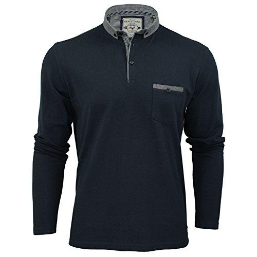 Herren Brave Soul Herad Designer Langärmlig Polohemd Knopfkragen T-shirt Top - Herren, Hera - Marineblau, S