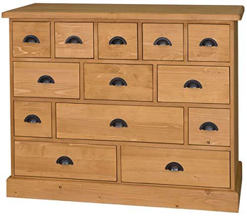 Casa Padrino Landhausstil Kommode mit 13 Schubladen - Büromöbel im Landhausstil, Farbe:naturfarben
