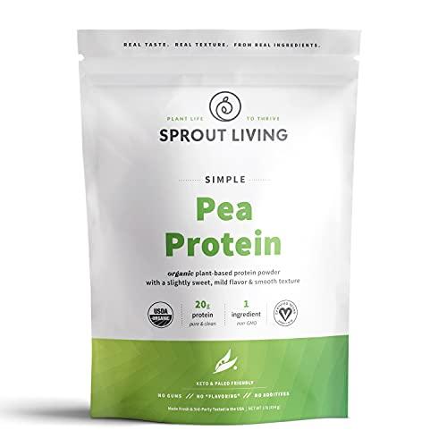 Sprout Living Organic Pea Protein Powder, 20 Grams of Plant Based Organic Protein Powder Without Artificial Sweeteners, Non Dairy, Non-GMO, Dairy Free, Vegan, Gluten Free, Keto Drink Mix (1 Pound)