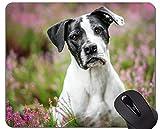 Yanteng Alfombrilla de ratón de Caucho Natural Impresa con Perro Pet Stare - Bordes cosidos