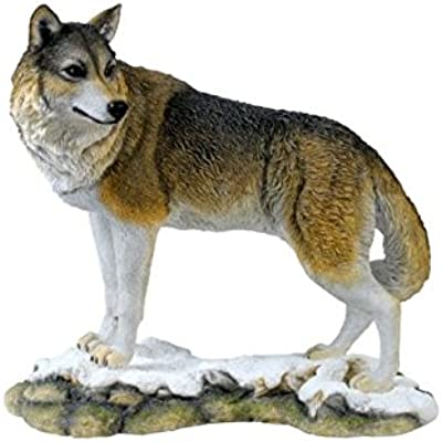 9.75 Inch Animal Figure Wolf Standing Looking Back Collectible Display