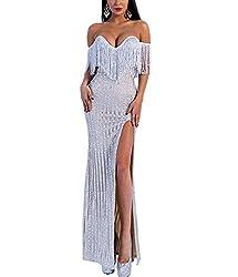 V Neck Silver Sequin Off-Shoulder Tassel Maxi Gown