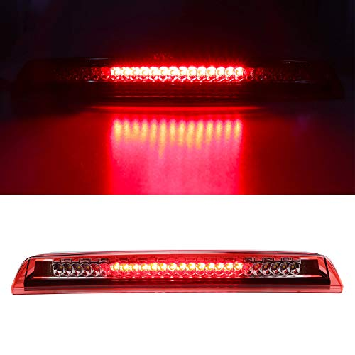 LED Third 3rd Brake Cargo Light Assembly, Rear Roof Center High Mount Stop Tail Light Replacement for 2004-2015 Nissan Titan,2005-2016 Nissan Frontier (Chrome Housing Red Lens)