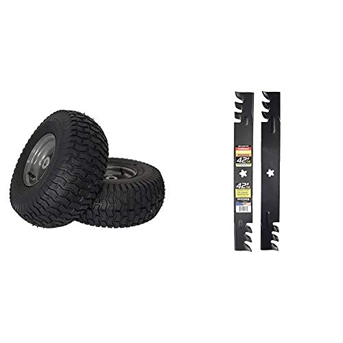 """MARASTAR 21446-2PK 15x6.00-6"""" Front Tire Assembly Replacement-Craftsman Mower, Pack of 2 & Maxpower 561713XB Commercial Mulching 2-Blade Set for 42"""" Poulan/Husqvarna/Craftsman, Black"""