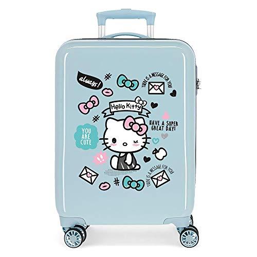 Hello Kitty You Are Cute Maleta de Cabina Azul 38x55x20 cms Rígida ABS Cierre combinación 35L 2,3Kgs 4 Ruedas Equipaje de Mano