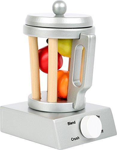 Small Foot 10596 Standmixer Kinderküche aus Holz, mit abnehmbarem Deckel, Haltegriff und Knopf, inkl. Obst, ab 3 Jahren Spielzeug