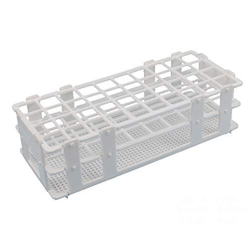 BIPEE Plastic Test Tube Rack for 20mm, 40 Wells, White,Detachable (40 Hole)