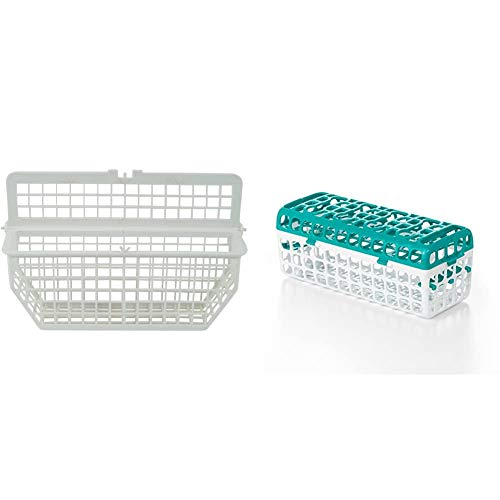 Whirlpool 3370993RB Dishwasher Silverware Basket, White & OXO Tot Dishwasher Basket for Bottle Parts & Accessories, Teal