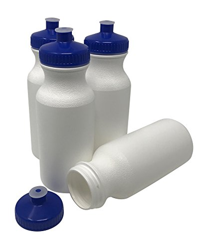 CSBD 20oz Sports Water Bottles, Reusable No BPA Plastic, Pull Top Leakproof Drink Spout, Blank DIY Customization for Business Branding, Fundraisers, or Fitness (White Bottle - Blue Lid, 4 Pack)