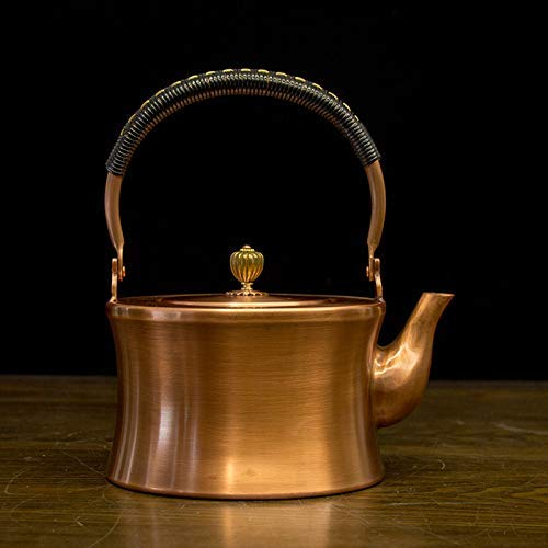 Tetera de cobre Tetera de cobre Tetera Tetera de gran capacidad Pote de cobre Kettle Estilo japonés Potra de cobre puro Mano gruesa Pote de cobre tetal Kettle Kung Fu Juego de té, 2.0L Gran compasión