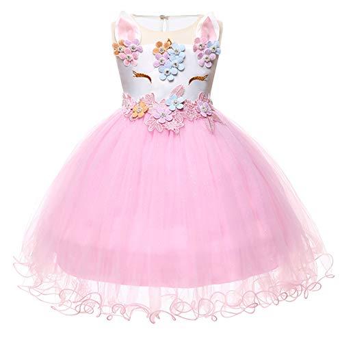 IMEKIS - Falda tut de tul con diseo de unicornio para nias y bebs con diadema para disfraz, sin mangas, para boda, cumpleaos, fiesta formal, disfraz de princesa Pink Dress 18 Meses