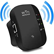 WiFi Extender, 2.4GHz Speed up to 300Mbs WiFi Repeater WPS Chip One-Key Encryption Wireless AP/Router/Booster Signal Amplifier 360 Degree Full Coverage Wall Plug Range Extender - Black